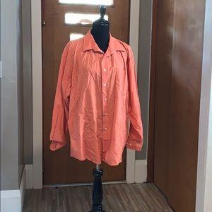 Long sleeved orange button down dress shirt